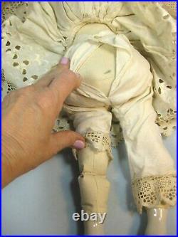 Antique Kestner German 1860 China Head Porcelain & Cloth Doll 18 Sweet