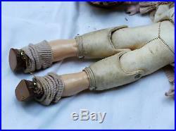 Antique L. H. B. 0 Bisque German Doll Kid Leather Body 17 Needs TLC