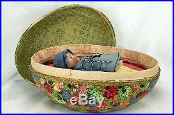 Antique Large German Lithographed Egg with Bisque Doll ca1910