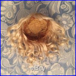Antique Light Blonde Mohair Doll Wig 4 French or German Bisque 9.5 -11 HC