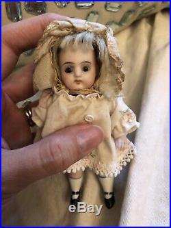Antique Rare Chubby 4.5 All Bisque German Doll Kestner 257 Orig Wig Mignonette