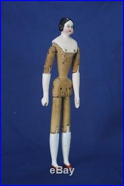 Antique Rare German China Doll with Wood Body ca1850