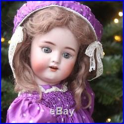 Antique Simon & Halbig Bisque Doll c1900 in Antique Silk Dress & STEIFF Teddy