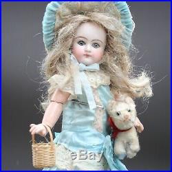 Antique TETE Porcelain Doll c1890s MIGNONETTE Closed Mouth & Antique Cat