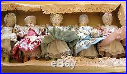 Antique bisque doll lot Hertwig sample box Germany
