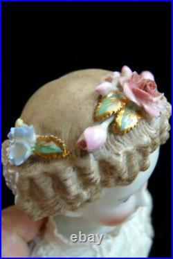 Antique c. 1880 German Dornheim Parian Doll With Flowers in Her Hair 17