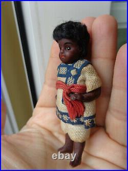 Antique dollhouse doll black mignonette closed mouth brown bisque black doll