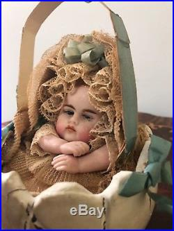Antique''wax Baby That Crying In A Broken Egg'' 16 Inc. Round 9 1/2 Tall