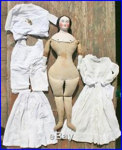 Big 25 Early Antique German Interesting China Doll pink Tint Great Hairdo 1840s