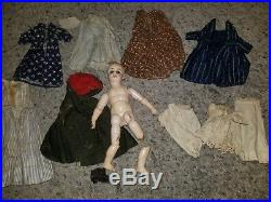 Bisque Head Composite Body Wooden Antique Doll CLOTHES RARE 1800s clothing