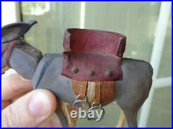 Cute little nodding donkey with beautiful red saddle c1900 for mignonette doll