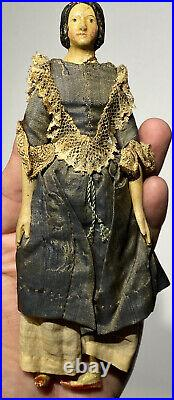 Early Antique 7 Miniature Paper Mache Milliners Model Doll Hairdo All Original