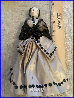 Exceptional All Original 7.5 Rare Hairstyle Antique German China Doll Civil War