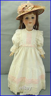 Fabulous Ernst Heubach Antique large bisque head doll & antique dress