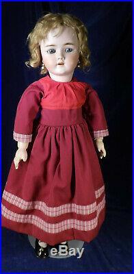 GORGEOUS Antique H Handwerck German Bisque Doll 69 Curly Blonde Wig Pretty Dress