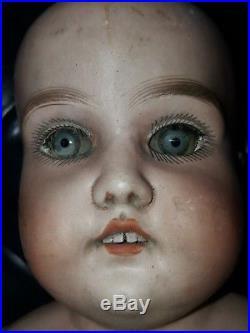 Gebrüder Kuhnlenz Antique German Doll bisque head jointed leather body #170 24