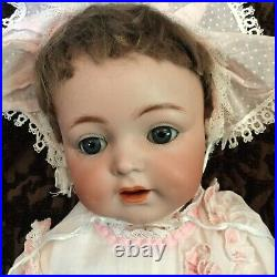 German Bisque Antique KR #122 Baby with Doll Pink Antique Gown & Bonnet SWEET