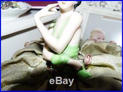 German Porcelain Half Doll Hands Away Trinket Box Rosettes & Lace Stunning