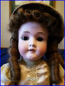 Gorgeous Antique 25 German Bisque Walkure Doll Lovely dress! Beautiful