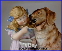 Heubach Era Victorian Piano Baby Girl Reading to Dog Collie Lab Bisque figurine