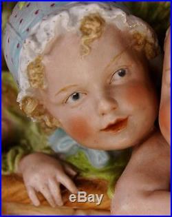 Heubach Porcelain Four Piano Baby Dolls Box Bisque Figurine Largest Size RARE