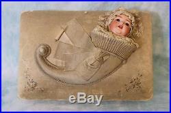 Italian Antique 14 Silk Musical Jewelry Box Bisque Doll out of Cornucopia 1880