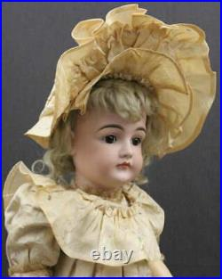 LARGE ANTIQUE GERMAN CLOSED MOUTH KESTNER BISQUE DOLL with Fancy Silk Dress