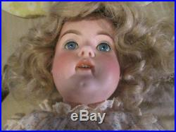 Large 26 Inch German Bisque Doll With Excellent Original Wood Composite Body