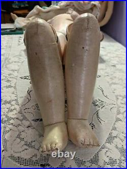 Lg. 22 Antique kid leather doll body for French or German Fashion Doll jointed