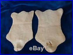 Pair antique dollhouse ice bear furs c1900 made of felt with glass eyes & teeth