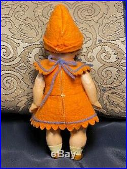 RARE! ANTIQUE ELF PIXIE GERMAN DOLL Small Jointed Bisque Head GOOGLY EYES 6.5