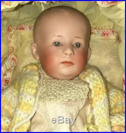 Rare Antique 11 Gebruder Heubach 6894 Bisque Head Character Baby Doll w Buggy