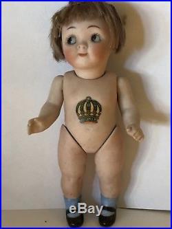 Rare Antique All Bisque German Kestner 189 Googly Googlie Doll Glass Eyes
