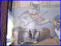Rare Musical Antique German Wall Hanger Picture Automaton Dancing Cats