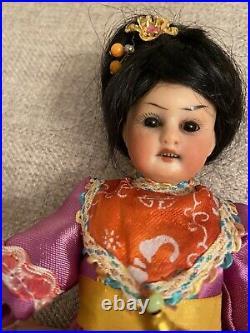 Rare Unusual Antique 8 Oriental Asian German Bisque Doll Cabinet Size