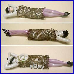 Reduced! Liquidation Vintage German Porcelain Half Doll Lady In Lace Suit