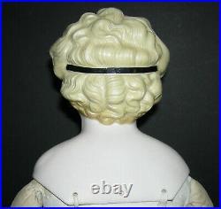 Round Face Parian Molded Black Hair Bow Glass Eyes Pierced Ears Old Body