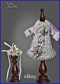 Silk Mignonette Dress & Hat 4 Porcelain Doll Antique Reproduction French German