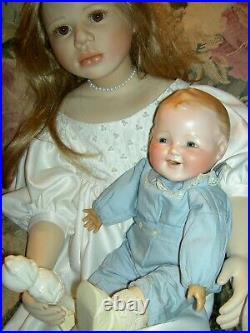 UNUSUAL and RARE, antique German bisque, character baby doll with molded hair