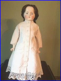 Unusual Antique German Parian Girl Doll with Human Hair Wig