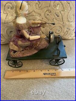 Very Rare Antique Alice Parian China Doll As Mechanical Pull Toy Circa 1860