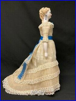 Very Rare Antique German China Doll with Blonde Hair and Pierced Ears and Very F